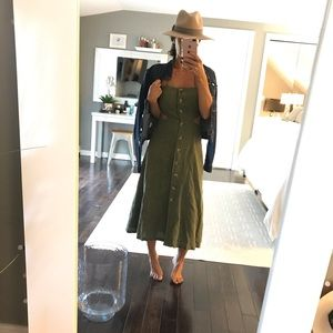 Urban Outfitters olive green open back dress small